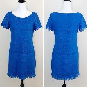 London Times Shift Dress Lace Floral Crochet Blue
